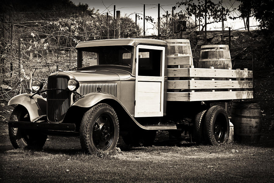 Old Photograph - Old Wine Truck Malibu by Rollie Robles