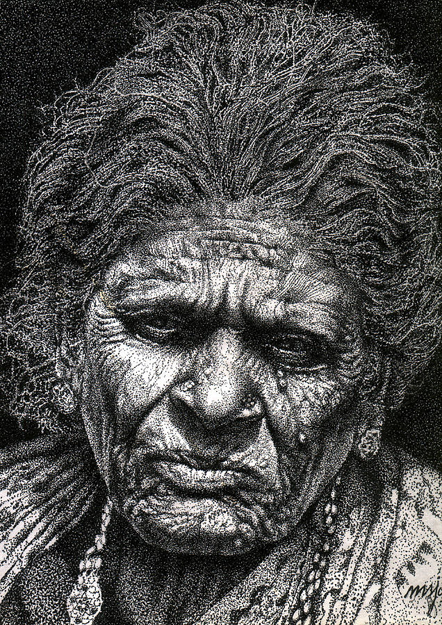 Old Woman Drawing - Old Woman In Sad by Johnson Moya