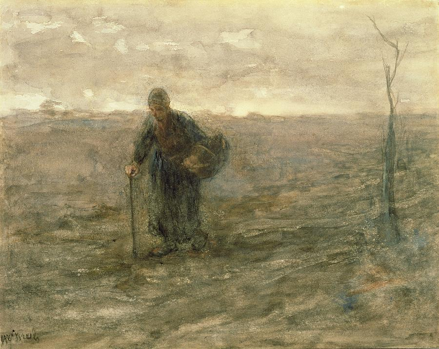 Basket Drawing - Old Woman On The Heath by Jozef Israels