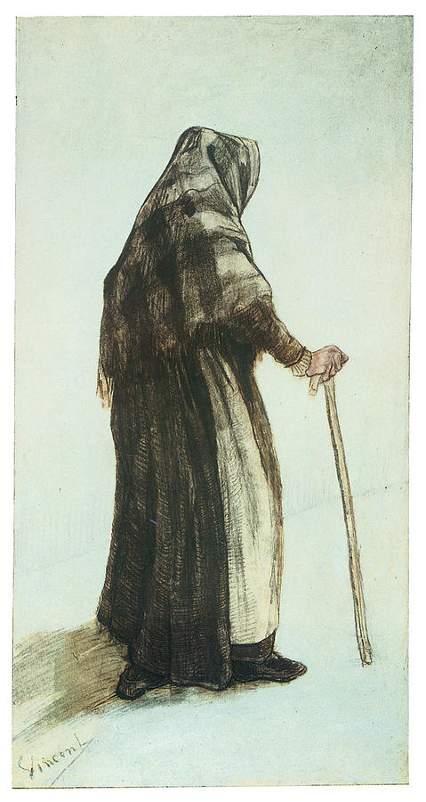 Old Woman Drawing - Old Woman Seen From Behind by Vincent van Gogh