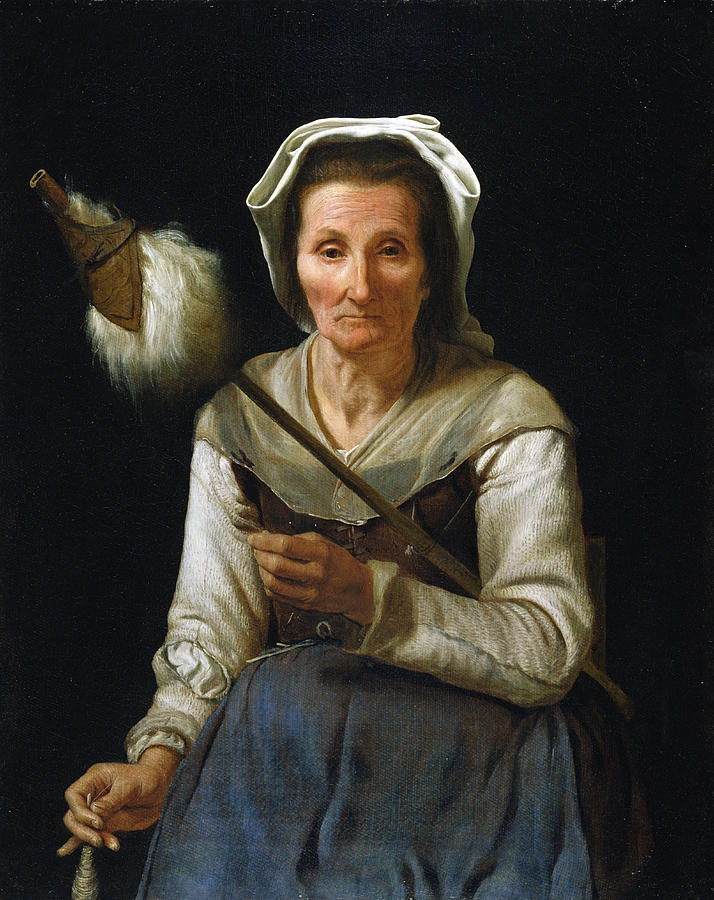 Female Painting - Old Woman Spinning, 1646-48 by Michael Sweerts