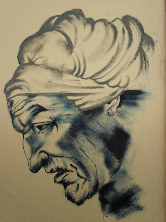 Expressionism Painting - Old Women by Raahi Raza