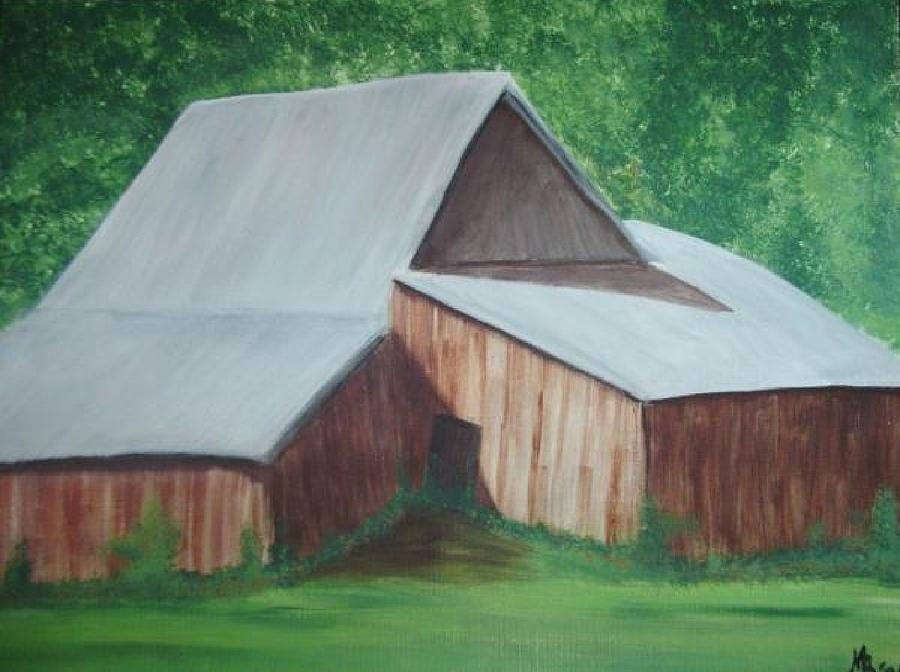 Barn Painting - Old Wood Barn by Melanie Blankenship