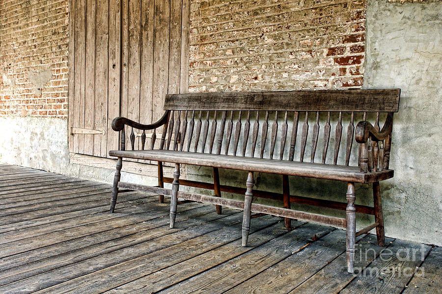 Bench Photograph   Old Wood Bench By Olivier Le Queinec