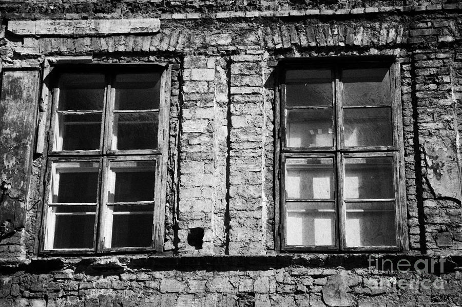 Europe Photograph - Old Wooden Double Layer Glazing In Old Red Brick Building With Plaster Facade Removed For Renovation Kazimierz Krakow by Joe Fox