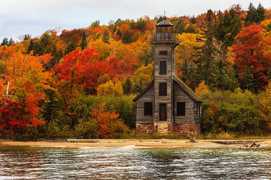 Old Wooden Lighthouse Next To Lake Superior, Grand Island, Upper Peninsula, Michigan, Usa Photograph by Ajay Thakur