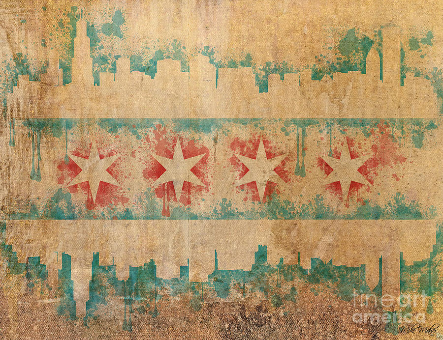 Chicago Digital Art - Old World Chicago Flag by Mike Maher