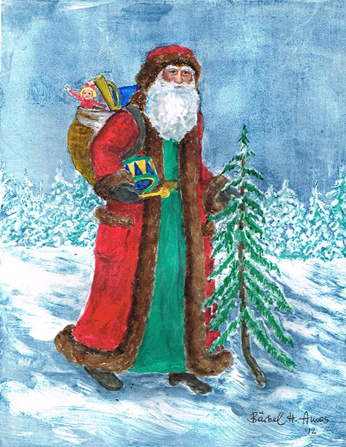 Father Christmas Painting - Old World Father Christmas4 by Barbel Amos