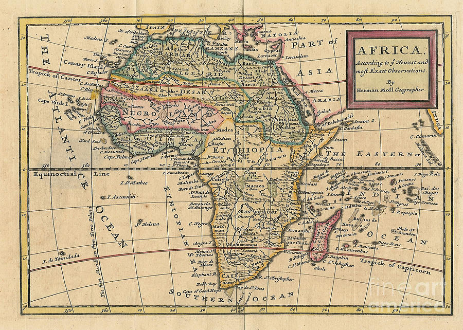 Old World Map Of Africa Photograph By Inspired Nature Photography