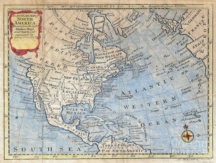 Old World Map Art. Old World Photograph  Map Of North America by Inspired Nature Photography Fine Art