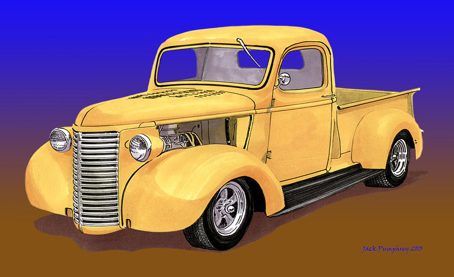 Old Yeller Pickem Up Truck Painting by Jack Pumphrey