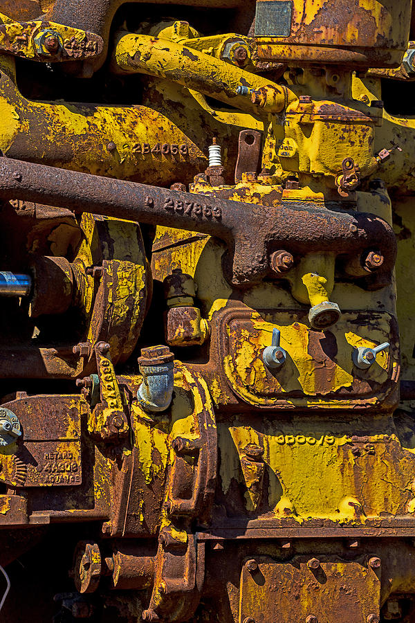 Motor Photograph - Old Yellow Motor by Garry Gay