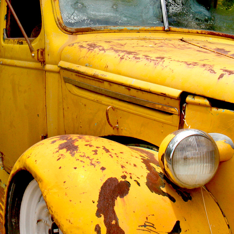 Truck Photograph - Old Yellow Truck by Art Block Collections
