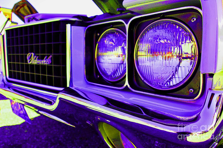 Red Car Photograph - Oldsmobile Purple by LLaura Burge