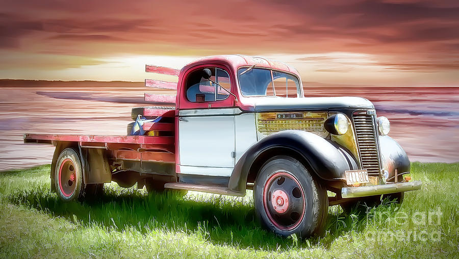 Sunset Digital Art - Oldsmobile Sunset by Shannon Rogers