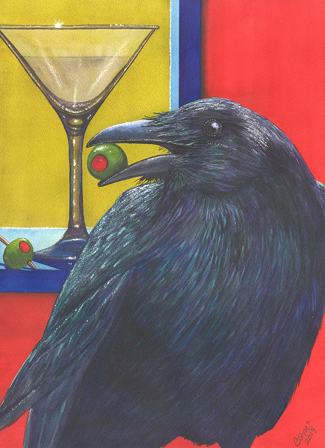 Raven Painting - Olive by Catherine G McElroy