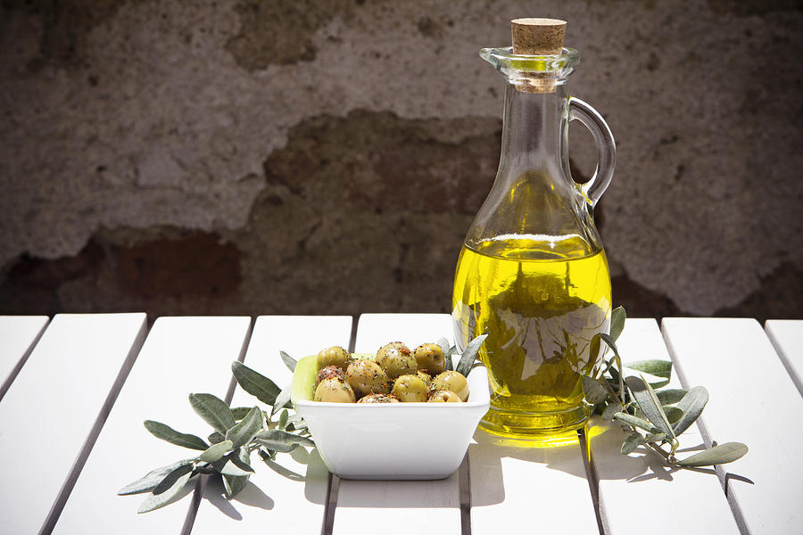 Olive oil bottle and branch Photograph by 101dalmatians