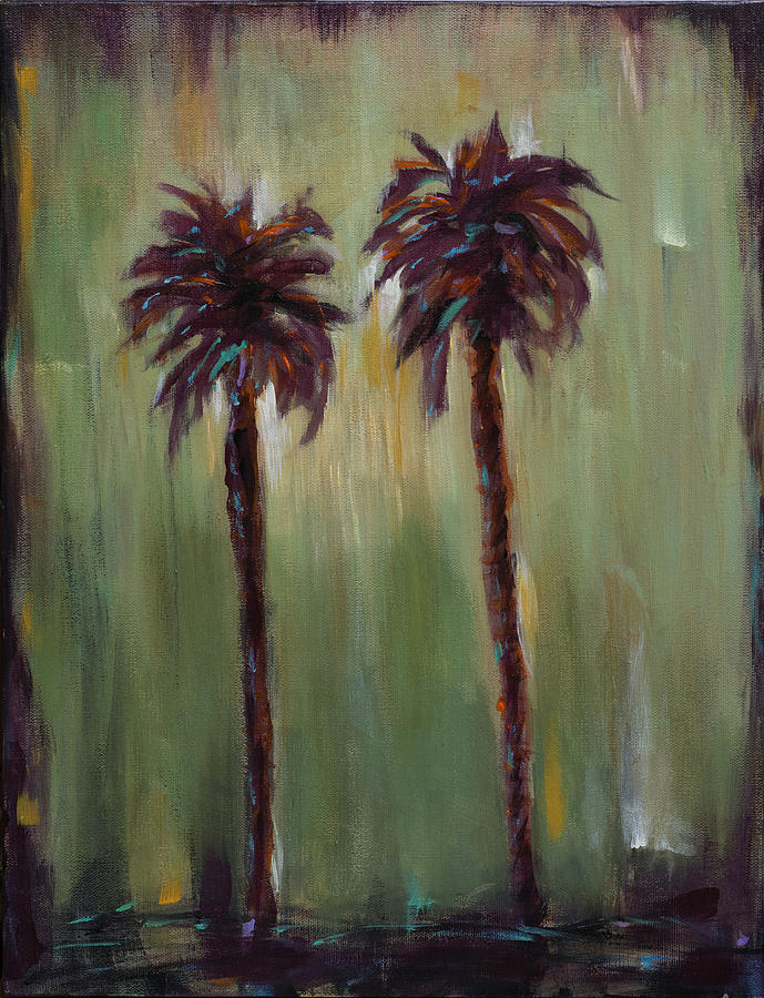 Palms Painting - Olive Sky by Linda Olsen