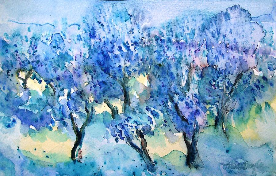 Olive Trees Painting - Olive Trees In A Tuscan Garden  by Trudi Doyle