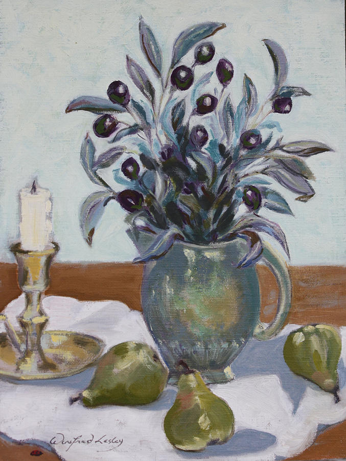Painting - Olives And Green Pears by Winifred Lesley
