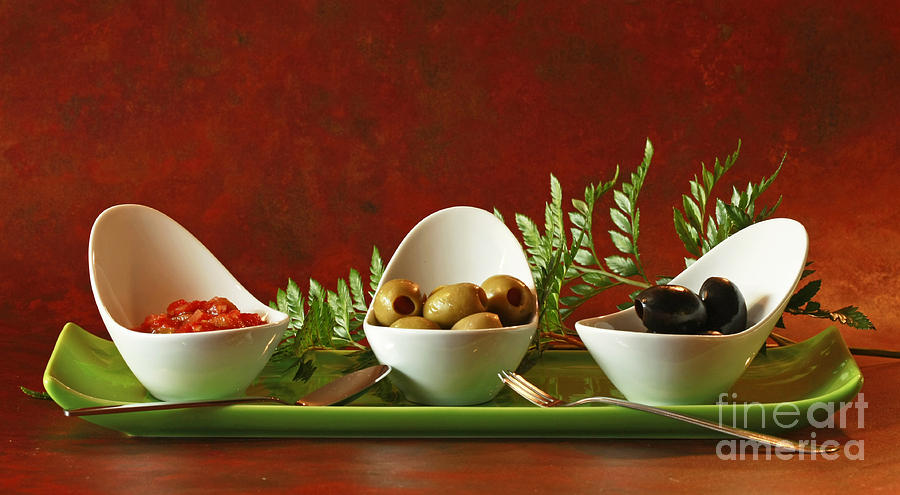 Olives Photograph - Olives And Salsa Delight by Inspired Nature Photography Fine Art Photography