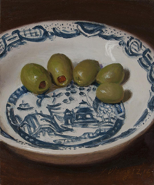 Still Life Painting - Olives In A Bowl by Youqing Wang