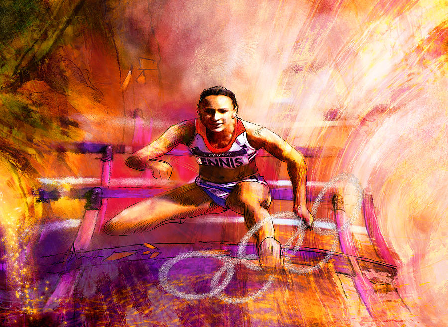 Sports Painting - Olympics Heptathlon Hurdles 02 by Miki De Goodaboom