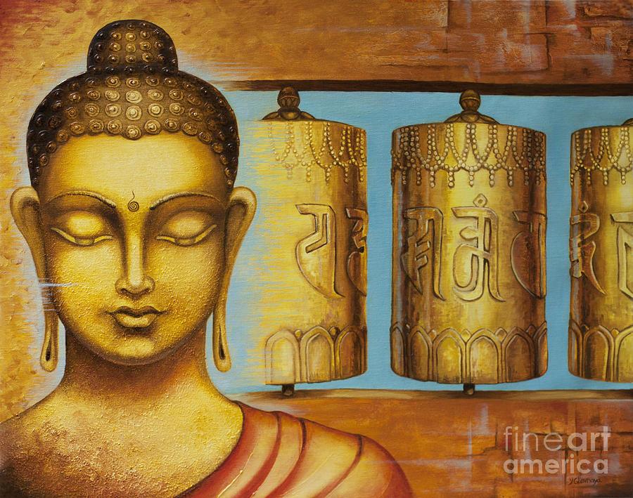 Buddha Painting - Om Mani Padme Hum by Yuliya Glavnaya