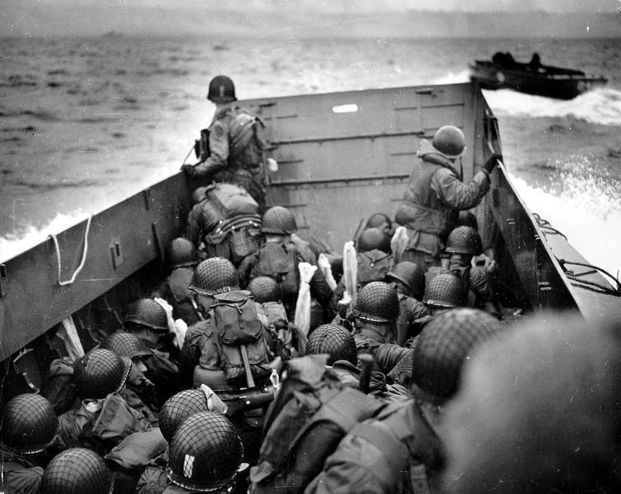 D Day Photograph - Omaha Beach Landing Craft Approaches by Tilen Hrovatic