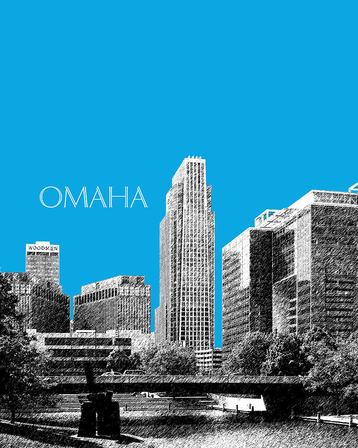 Architecture Digital Art - Omaha Skyline - Ice Blue by DB Artist