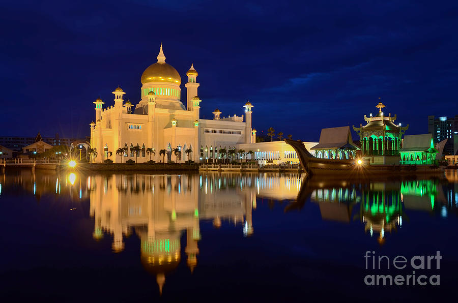 Asia Photograph - Omar Ali Saifuddien mosque mirror - Brunei by OUAP Photography
