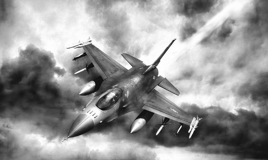 F-16 Digital Art - Ominous Falcon by Peter Chilelli