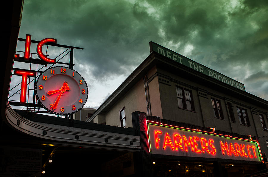 Seattle Photograph - Ominous Scene At The Market by Brian Xavier