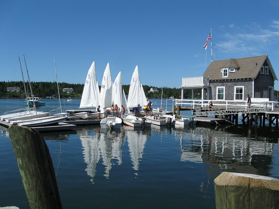 Adventure Photo Photograph - On A Beautiful Maine Summer Morning On The Island Of North Havenjunior Sailing Participants Rig Sailboats by Downeast Yacht Shots- Ted Fisher Photography