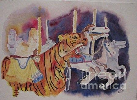 Carousel Painting - On a Carousel by Anne Woods