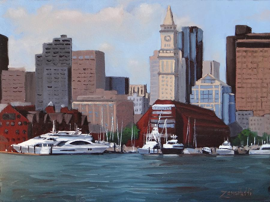 Boston Painting - On A Clear Day by Laura Lee Zanghetti