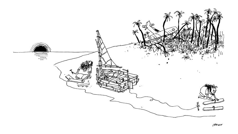 On A Desert Island Drawing by Edward Steed