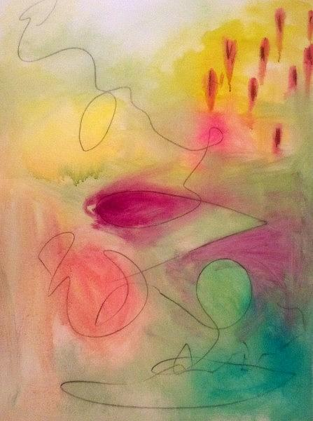 Abstract Painting - On A String by Maggie Hernandez