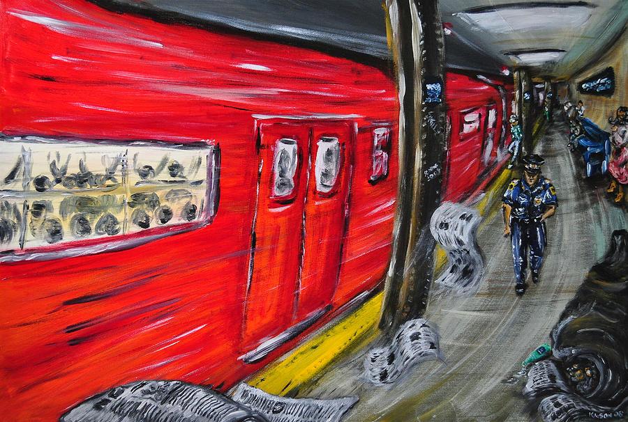 Subway Painting - On A Subway Platform by Ka-Son Reeves