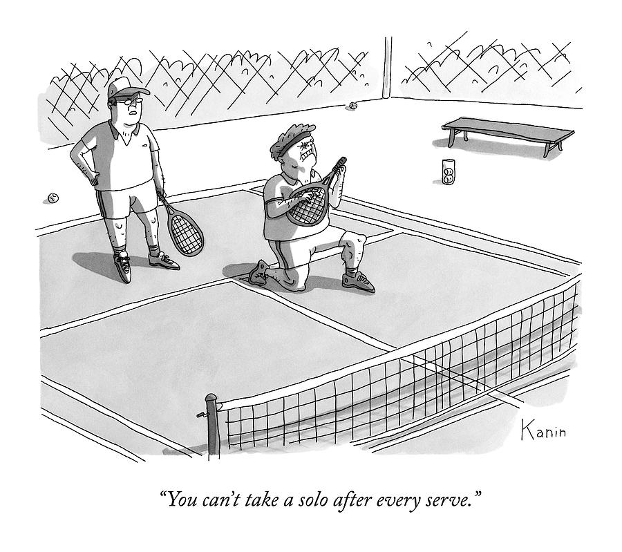On A Tennis Court Drawing by Zachary Kanin