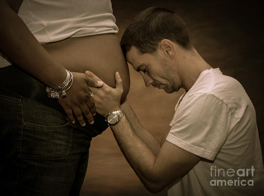 Maternity Photograph - On Bended Knee by Christine Nunes