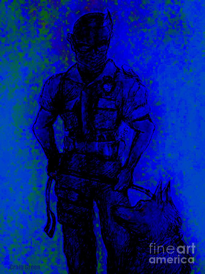 K9 Drawing - On Command by Craig Green