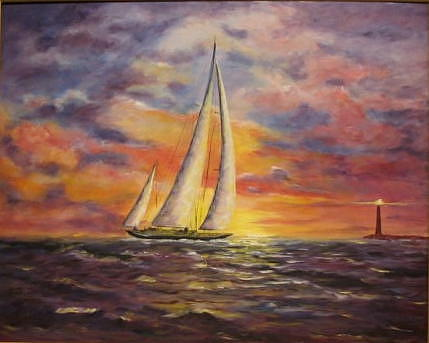 Sailing Ship Painting - On Course by Thomas Restifo