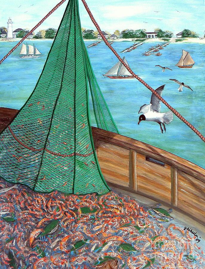 Shrimp Painting - On Deck by JoAnn Wheeler