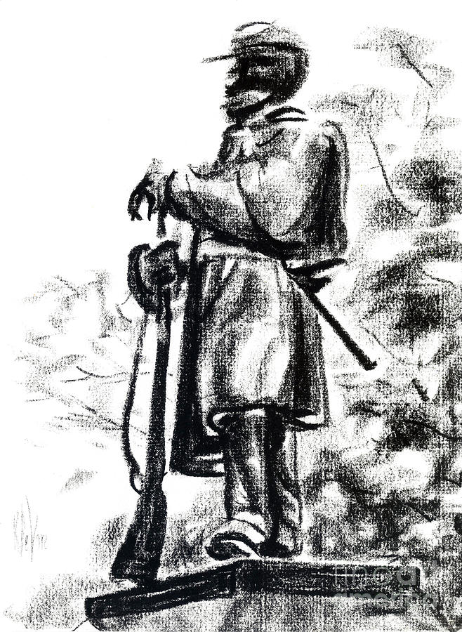 Soldier Drawing - On Duty in Brigadoon  No CH101 by Kip DeVore