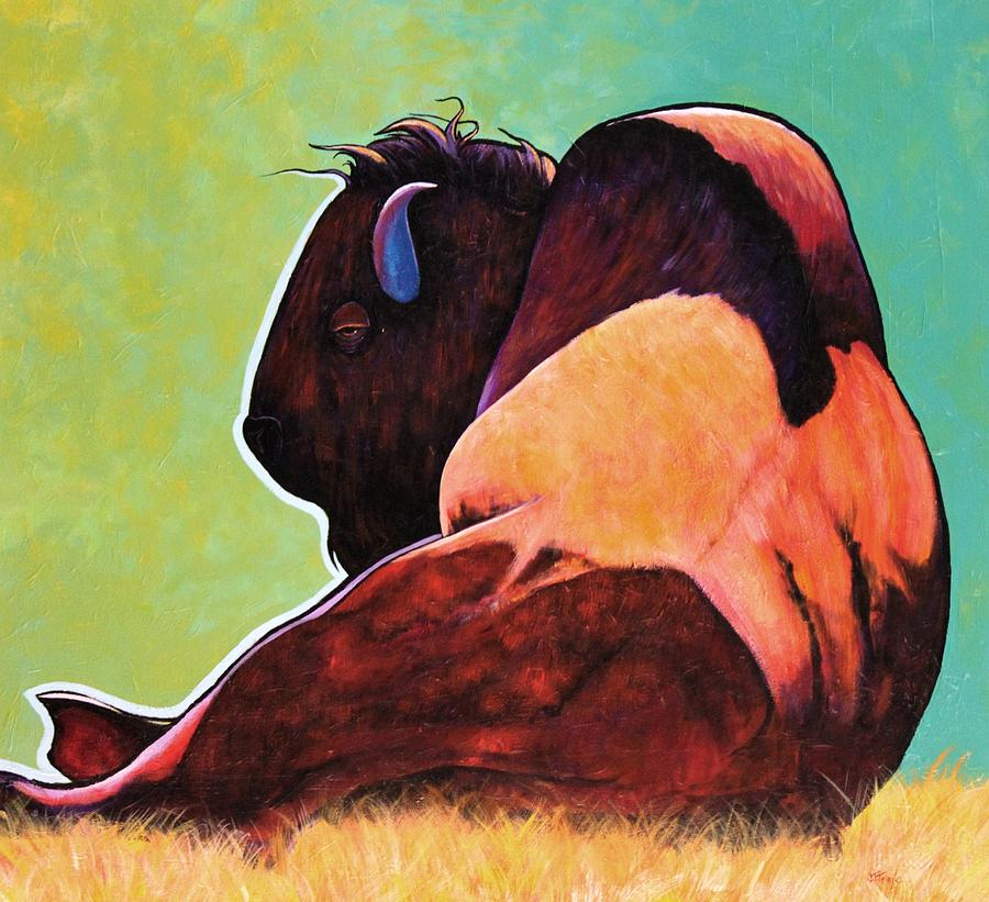 Wildlife Painting - On Empty Bison by Joe  Triano