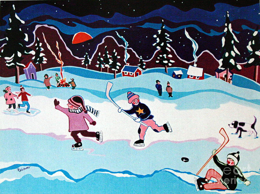 Skaters Painting - On Frozen Pond by Joyce Gebauer