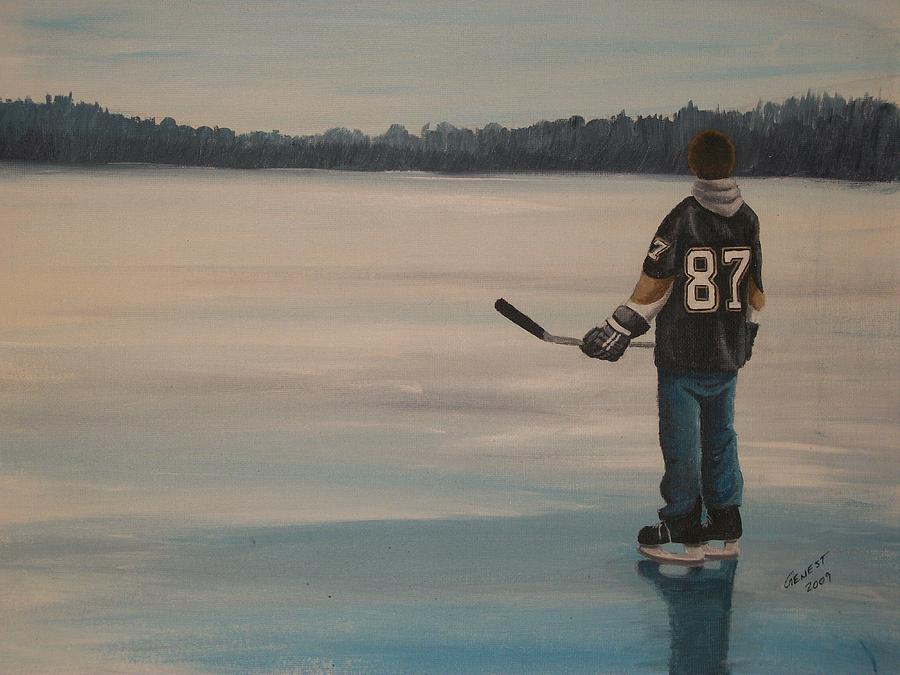 Hockey Painting - On Frozen Pond - The Kid by Ron  Genest