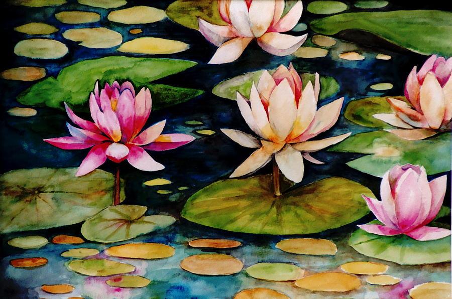 Lily Painting - On Lily Pond by Jun Jamosmos