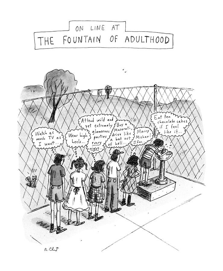 On Line At The Fountain Of Adulthood: Watch Drawing by Roz Chast